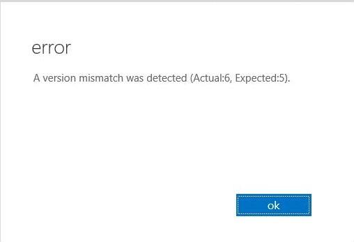A version mismatch was detected
