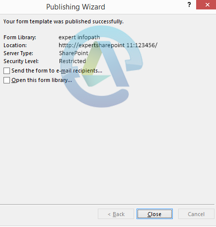 Form is published in SharePoint 2013 successfully